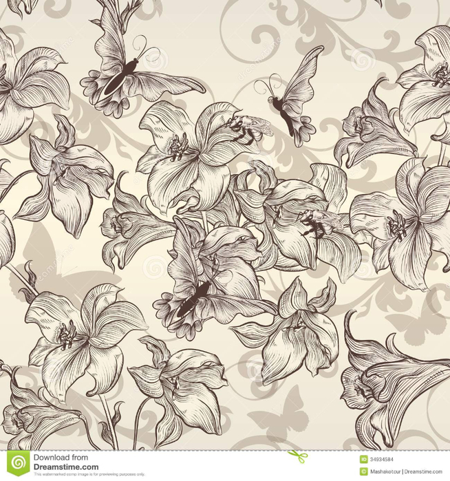 beautiful-vector-seamless-wallpaper-lily-vintage-style-pattern-flowers-34934584 (654x700, 490Kb)