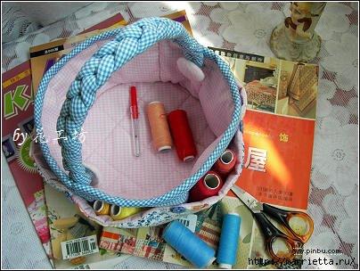 Текстильная корзинка - органайзер для рукоделия (4) (404x304, 106Kb)