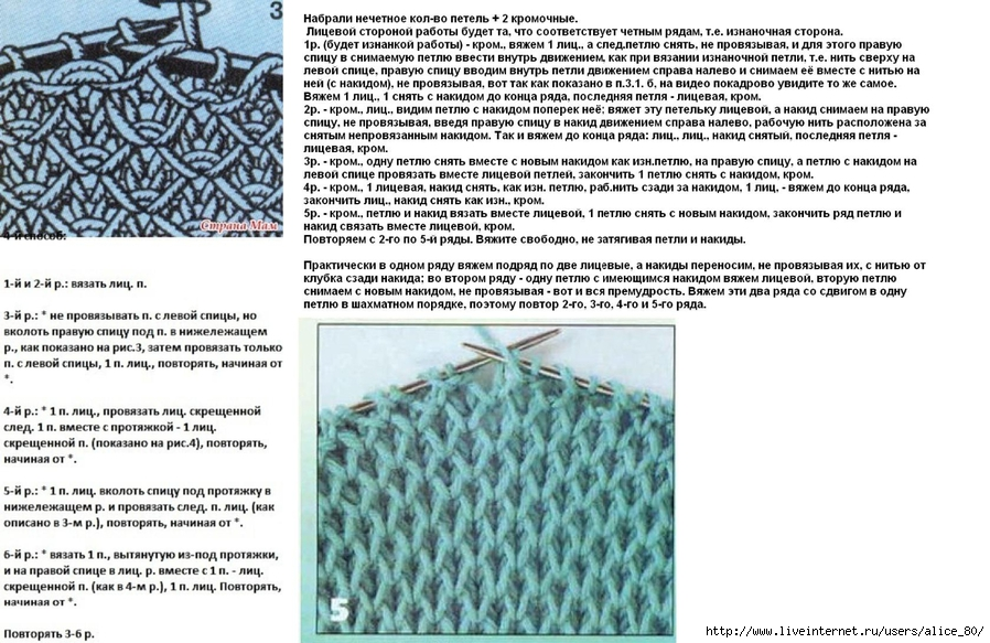 Схема для вязания спицами с накидом