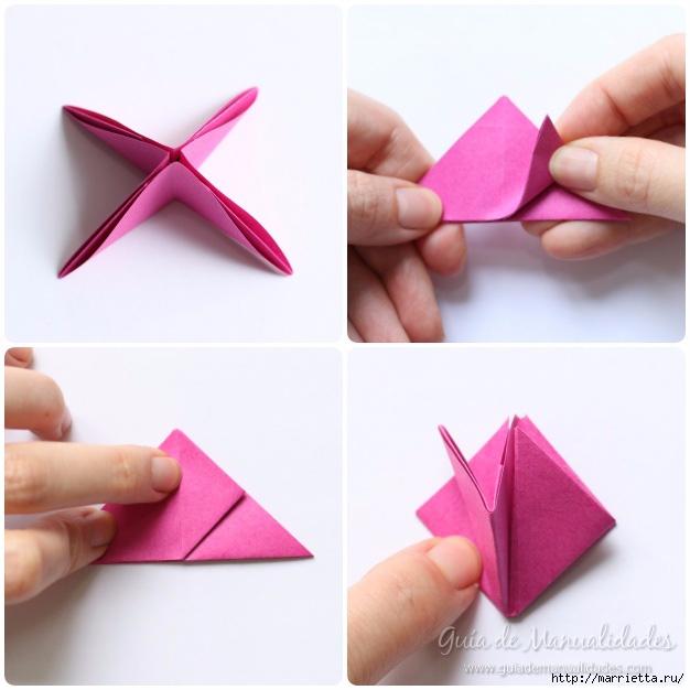 Нежные розочки из бумаги в технике оригами (9) (626x626, 155Kb)