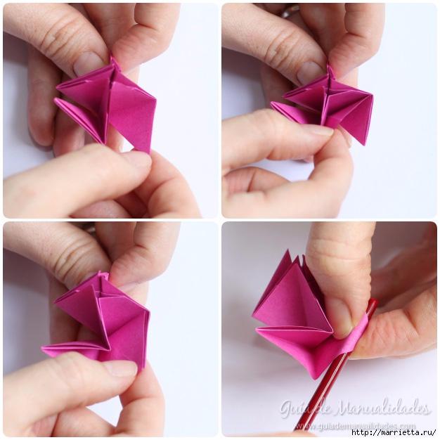 Нежные розочки из бумаги в технике оригами (11) (626x626, 190Kb)