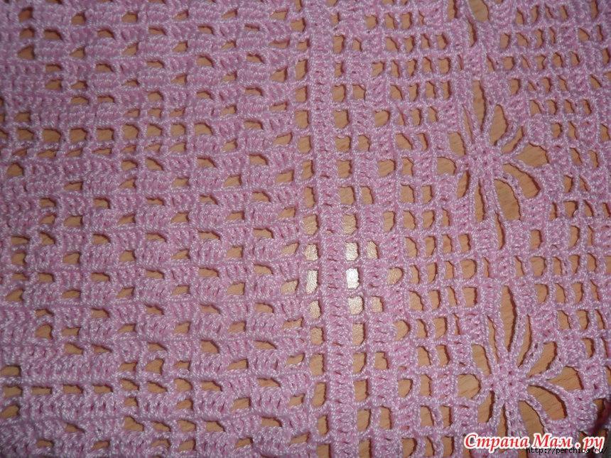 Туника филейным вязанием в стиле бохо