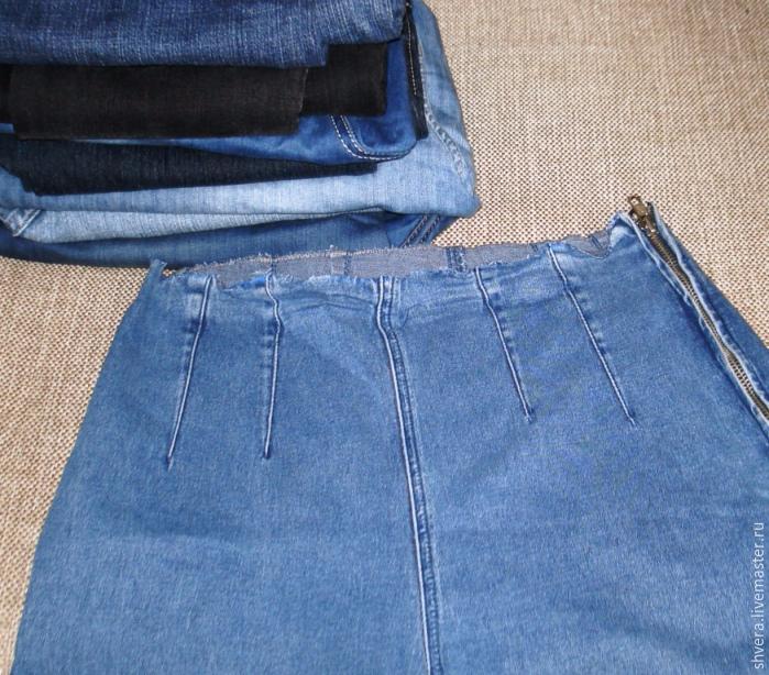 Видео как сшить юбку из джинсов своими руками