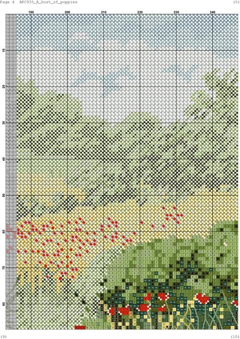 Вышивка крестом маковое поле схема вышивки