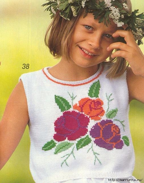 Летние модели спицами с розочками для девочек (1) (506x645, 270Kb)