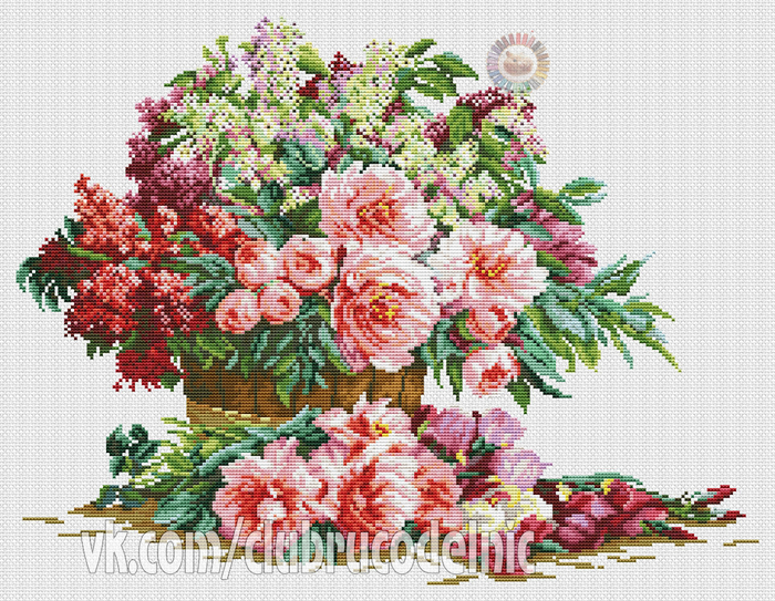 Bouquet of lilacs and peonies (700x543, 572Kb)