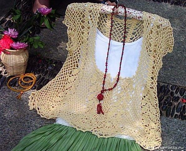 Ажурная летняя блуза крючком (3) (597x485, 310Kb)