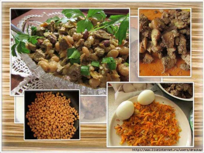 Салат с куриной печенью и фасолью