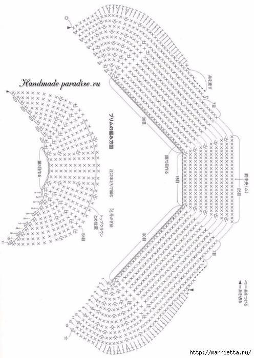 Кепка крючком для девочки. Схемы (4) (496x700, 187Kb)