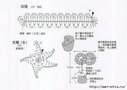 Розочка крючком. Схема (3) (426x302, 79Kb)