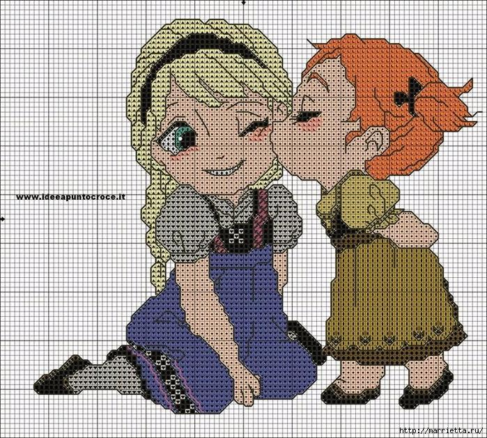 Эльза и Анна. Вышивка героев мультфильма Холодное сердце (4) (700x629, 521Kb)