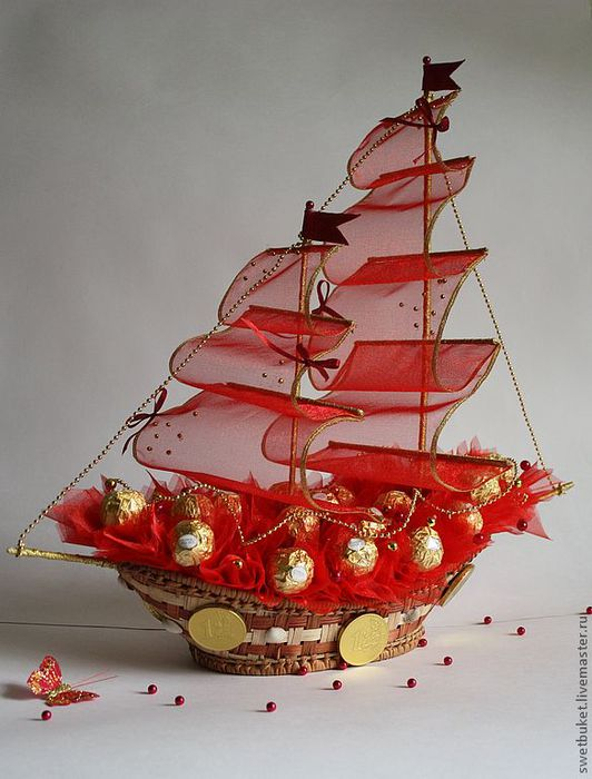 Корабль своими руками из конфет видео
