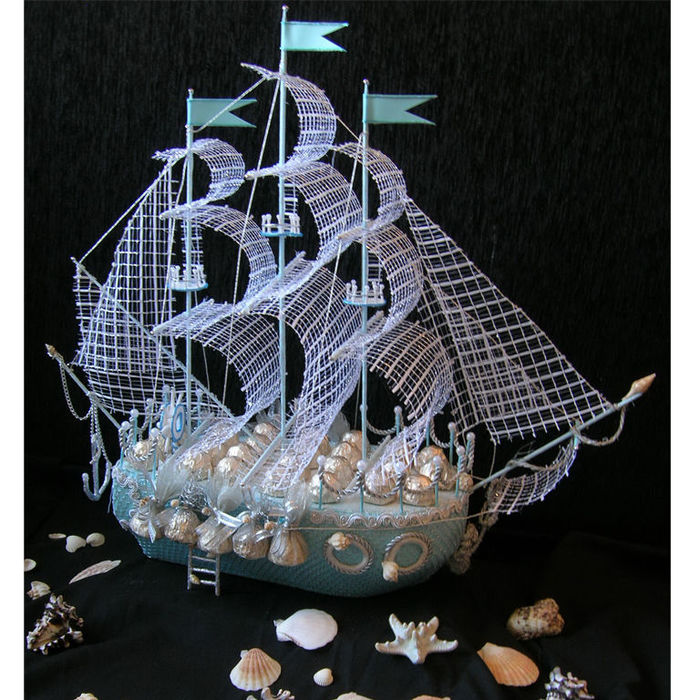 Корабль из конфет своими руками мастер класс фото