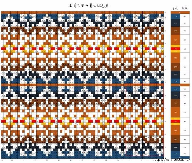 Жаккардовый жилет спицами. Схема (2) (610x519, 377Kb)