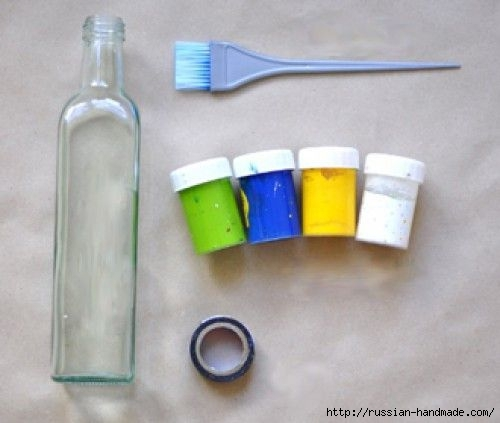 Декоративная бутылка - вазочка для цветов своими руками (1) (500x423, 80Kb)