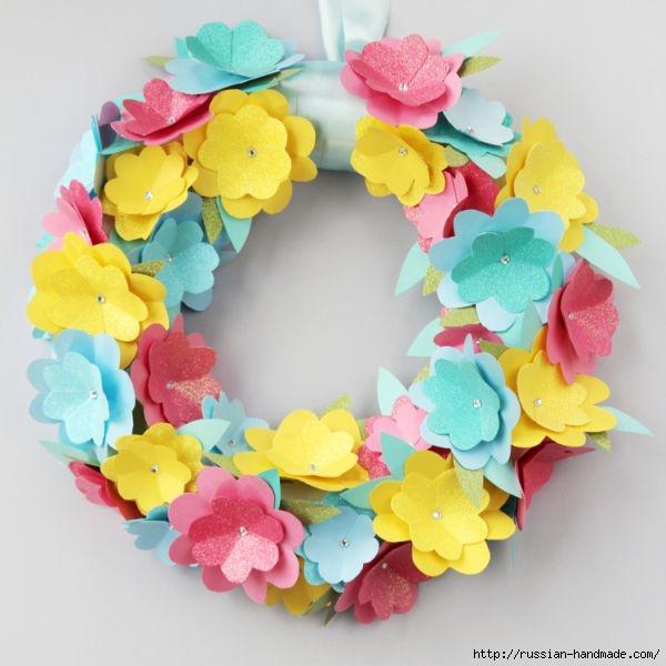 Декоративный весенний венок из бумажных цветов (5) (600x600, 145Kb)