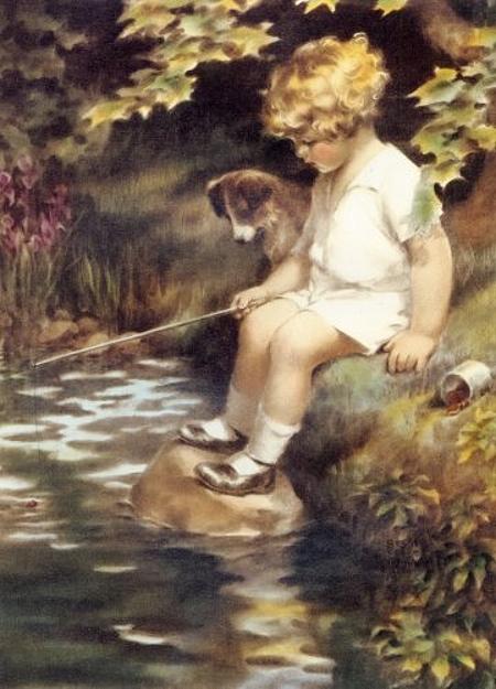 Рыбалка девочка со щенком (450x625, 216Kb)