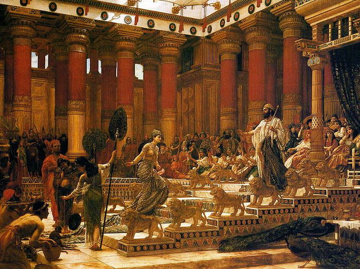 800px-'The_Visit_of_the_Queen_of_Sheba_to_King_Solomon, _oil_on_canvas_painting_by_Edward_Poynter, _1890, _Art_Gallery_of_New_South_Wales (700x524, 234Kb)