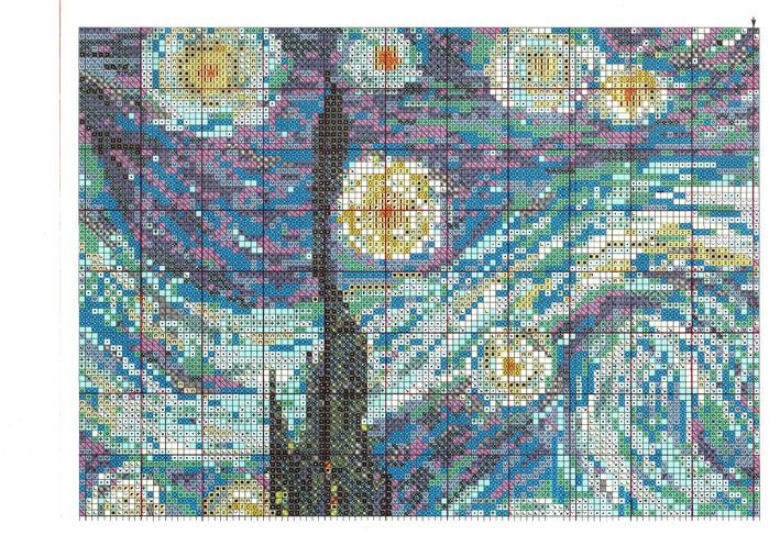 Схема вышивки звездная ночь ван гог схема