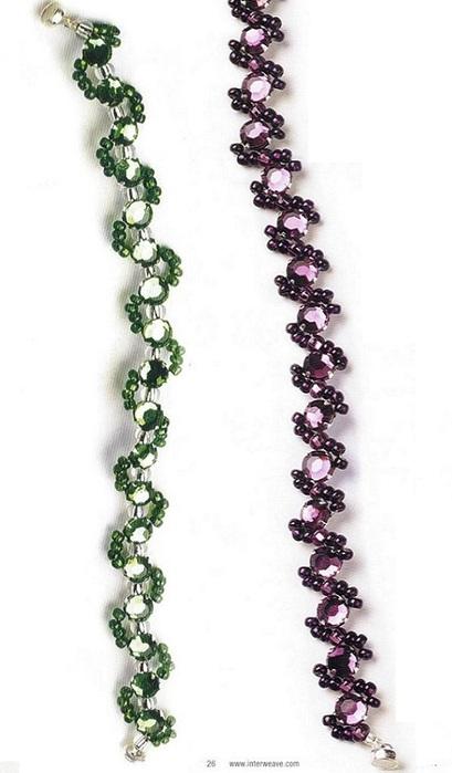 Схемы плетения и образцы готовых браслетов из разноцветного бисера.