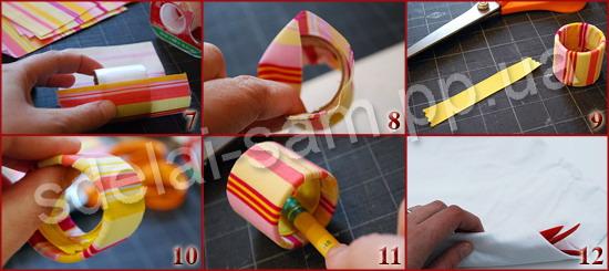 8. Смазываем внутреннюю поверхность заготовки клеем и загибаем верхний и нижний края ткани внутрь кольца.