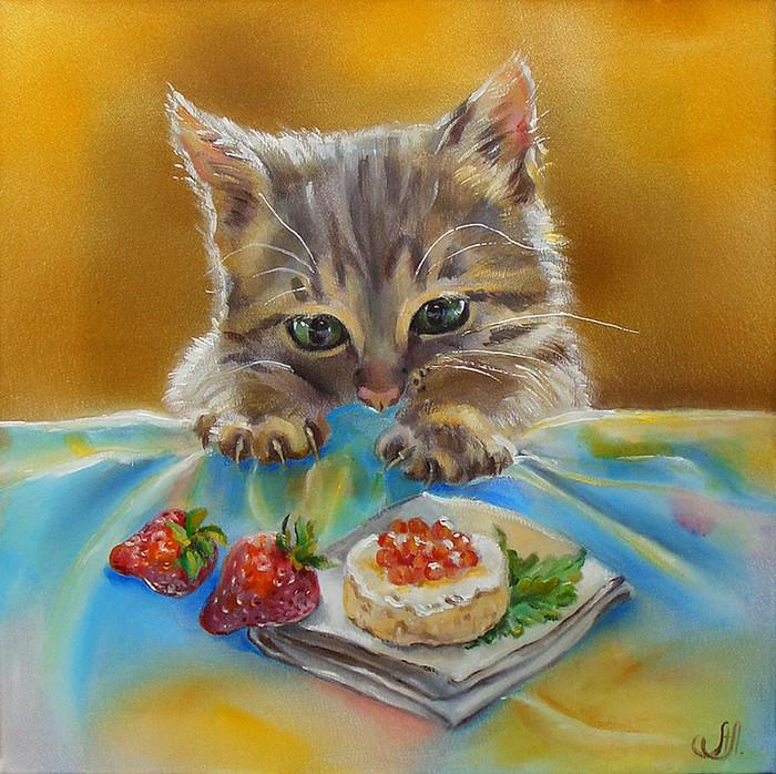 Вышивка Любопытный котенок (по мотивам рисунка А.Логиновой).  Техника вышивания: Вышивка бисером.