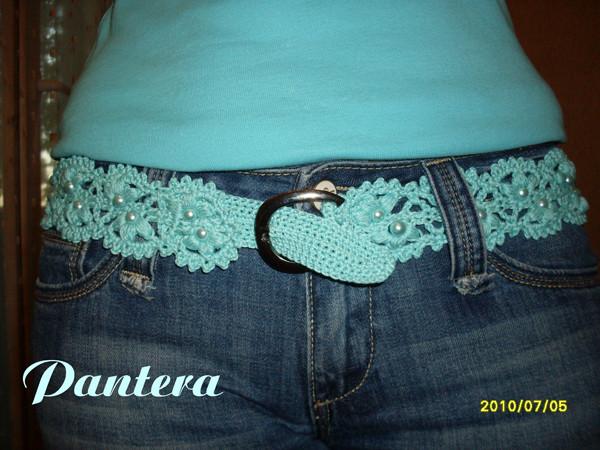 Для пояса подойдет любая схема ленточного кружева!  Поясок к джинсам из ленточного кружева.
