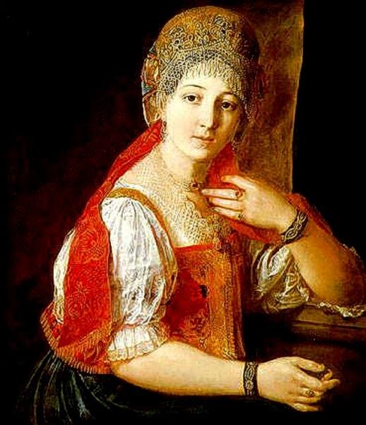 Aleksandr Alekseyev. A Young Girl in Russian Folk Dress. 1837 (518x602, 227Kb)