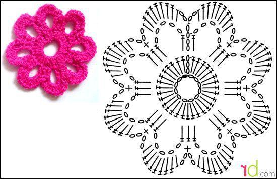 Цветок крючком для начинающих с