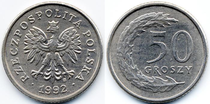 Польские 50 groszy 1990 цена стоимость монет россии каталог 10 рублей