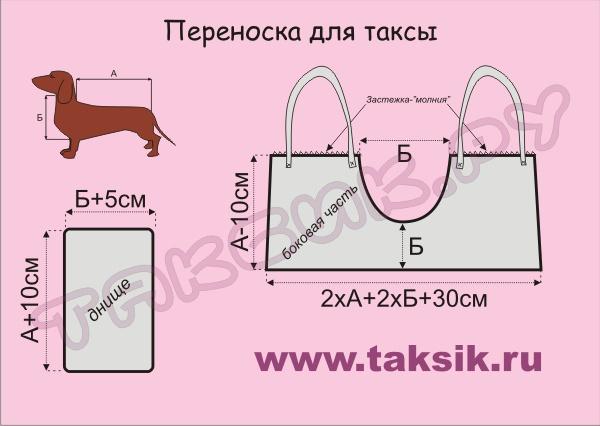 переноска для таксы выкройка (600x426, 60Kb)