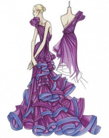 одежды. эскизы моделей платьев.