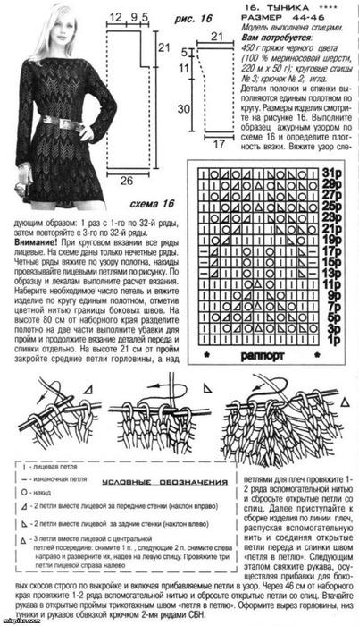 Схемы вязания спицами платья и туники схемы