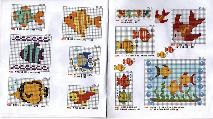 Схема вышивка крестом рыбы схемы
