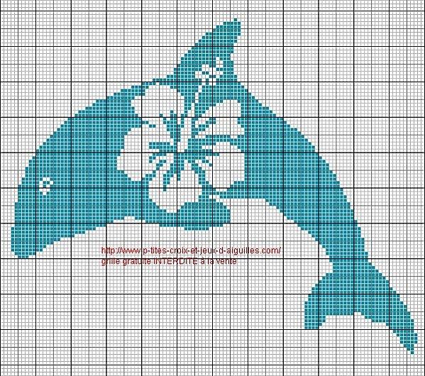 Рисунок для вышивки дельфины