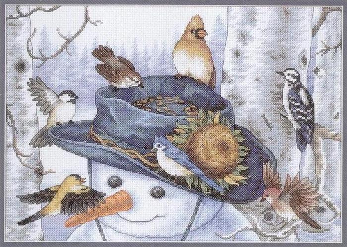 Вышивка крестиком - Снеговик с подсолнухом.  Категория.  09.11.2011. Просмотров: 439 Дата.