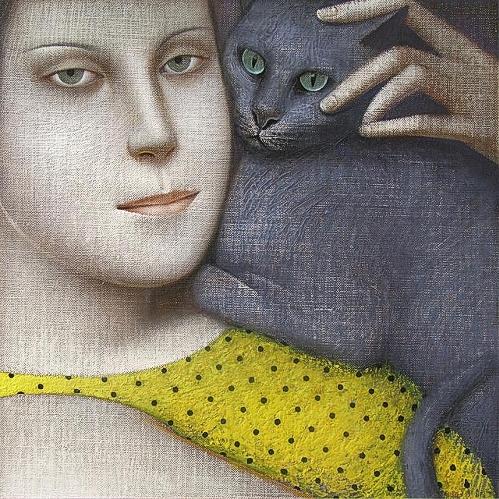 The_Blue_Russian_Cat_2006_Vladimir Dunjic Serbian Artist (499x499, 324Kb)