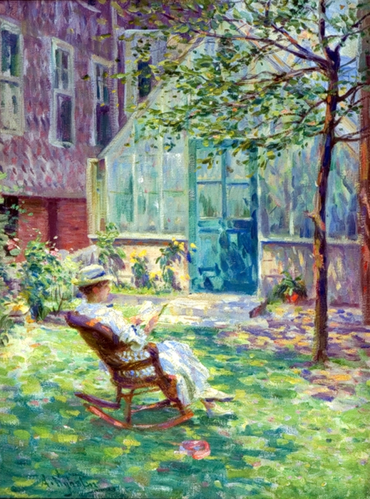Arvid Nyholm (1866 – 1927).reading-by-the-greenhouse (519x700, 365Kb)