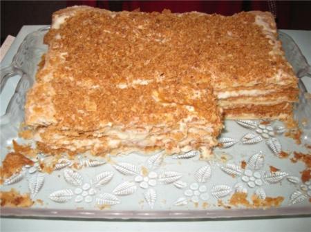 торт наполеон со сгущенкой фото