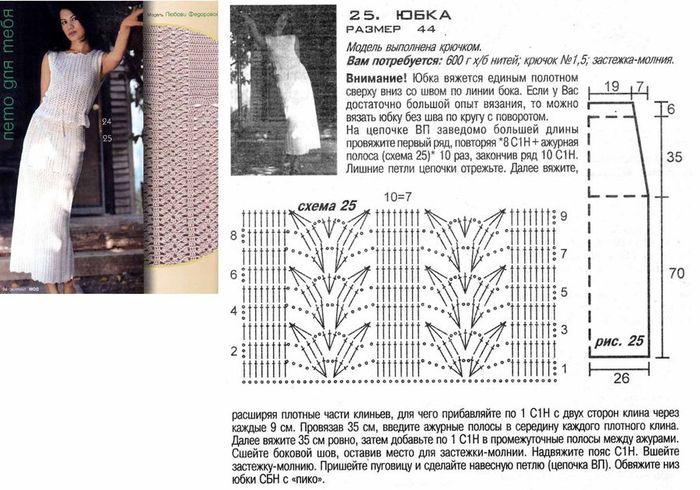 Вязание крючком для женщин юбки с описанием и схемами 14