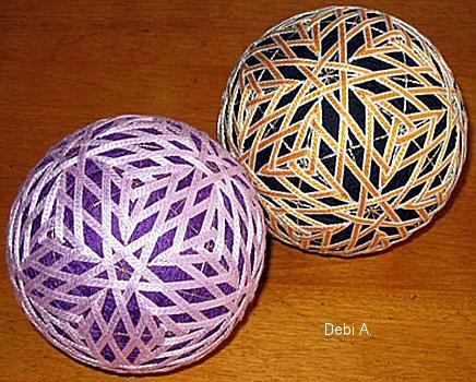 Японское вышивание - шарики темари.  Если раньше мастера темари использовали в качестве материала старые кимоно...