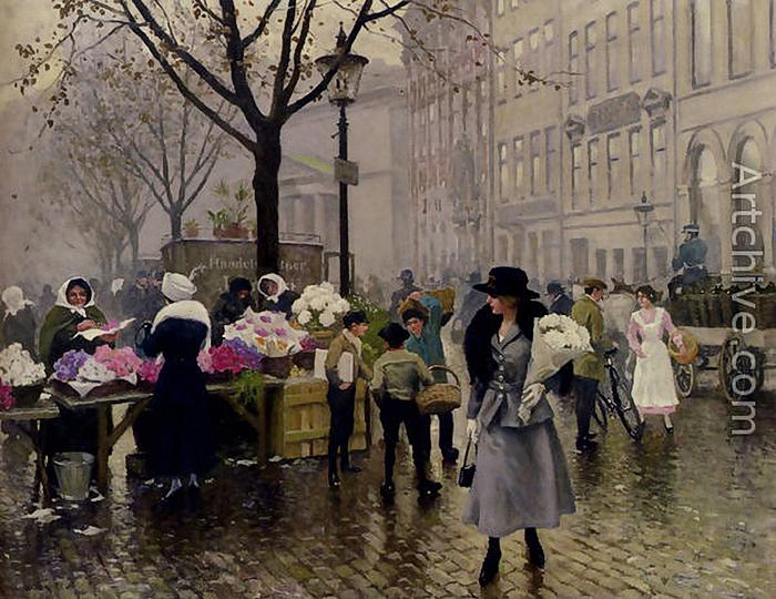Paul Gustav Fischer-Le Marché aux Fleurs, Copenhague (700x540, 430Kb)