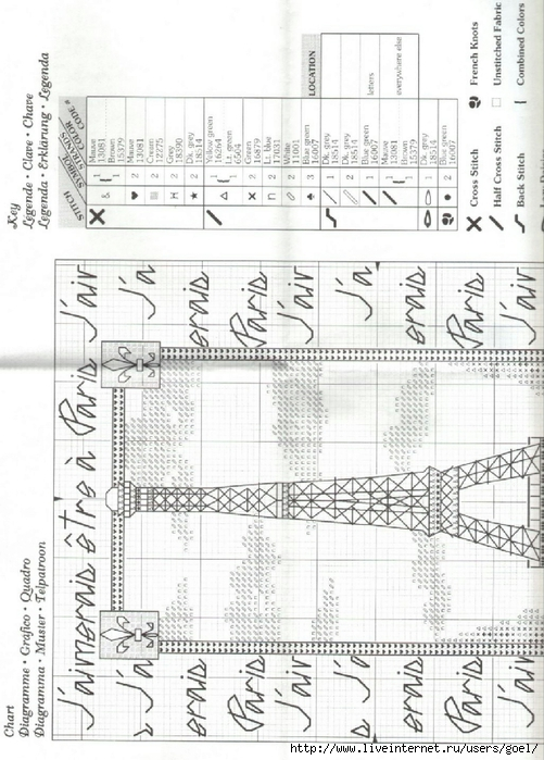 Схема вышивки крестом эйфелева