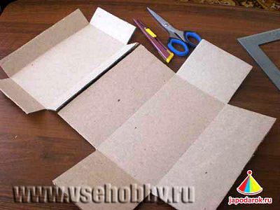 вырезаем из картона заготовку шкатулки ручной работы