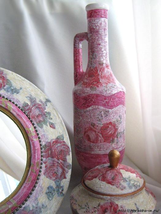 Набор Розовый цвет, зеркало, шкатулки, магнит на холодильник, акрил, декупаж, кракелюр, Shraddha 11 (525x700, 252Kb)