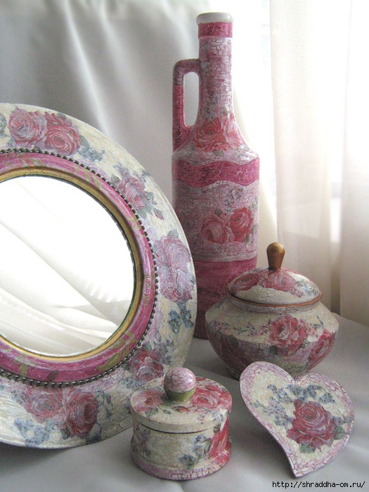 Набор Розовый цвет, зеркало, шкатулки, магнит на холодильник, акрил, декупаж, кракелюр, Shraddha 12 (525x700, 244Kb)