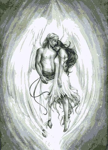 ангел и девушка (349x487, 37Kb)