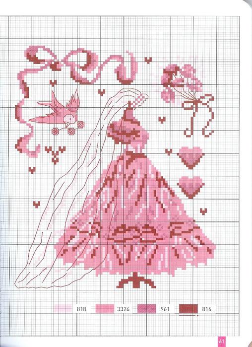Вышивка крестом девочка с бантиками 38