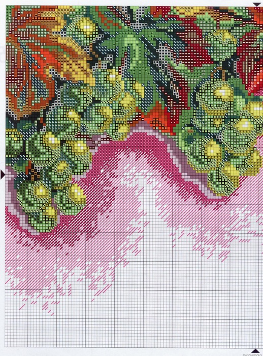 Схемы вышивки крестом грозди винограда