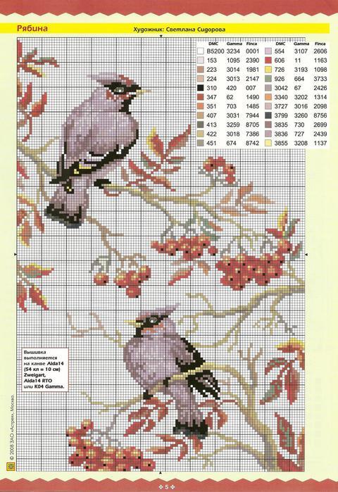 Рябина.схема для вышивки крестиком